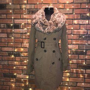 BB Dakota Faux Fur Collar Long Trench Coat Belted